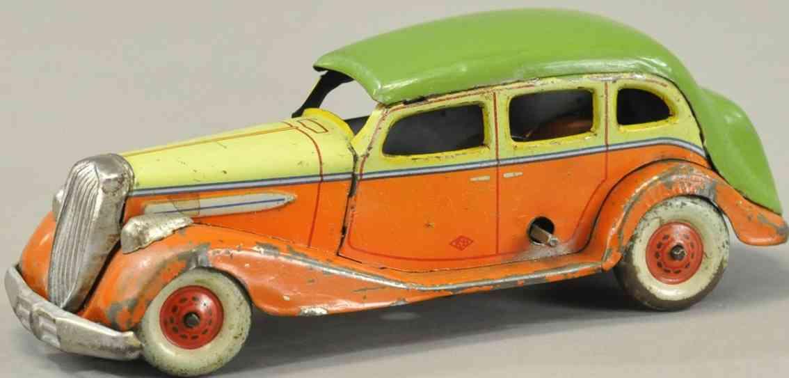 kosuge toy co blech spielzeug auto limousine orange gruen gelb