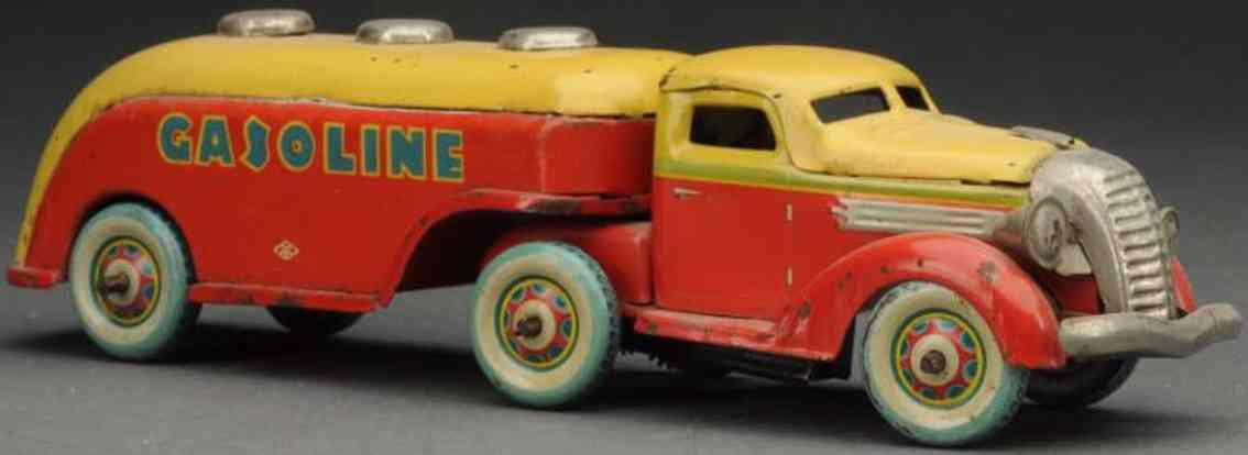kuramochi tin toy gasoline diamont-t articulated truck wind-up red yellow