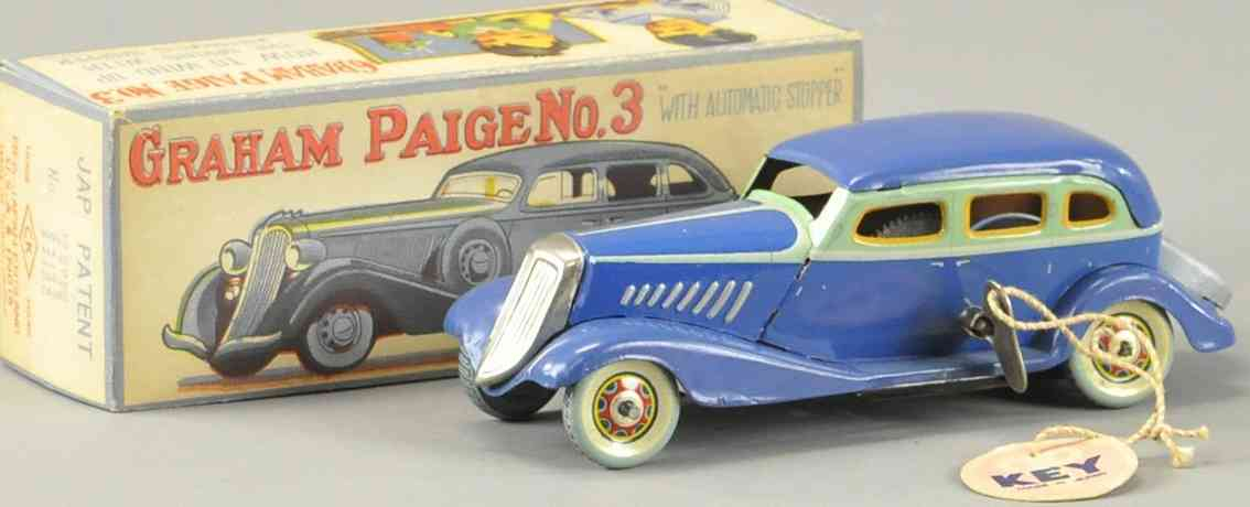 kuramochi tin toy car boxed graham paige 3 saloon car blue clockwork