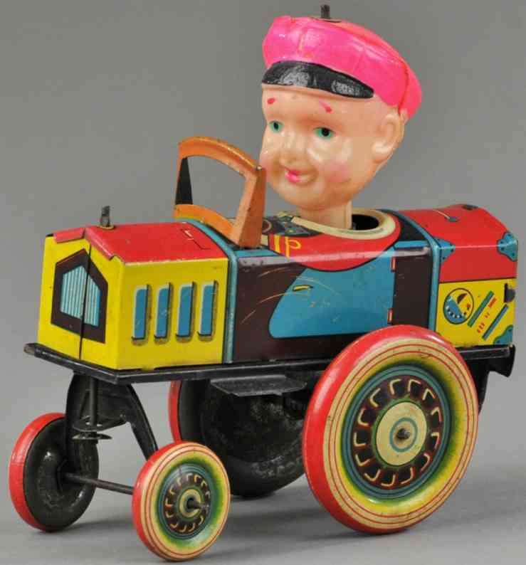 kuramochi tin toy crazy car celluloid driver clockwork