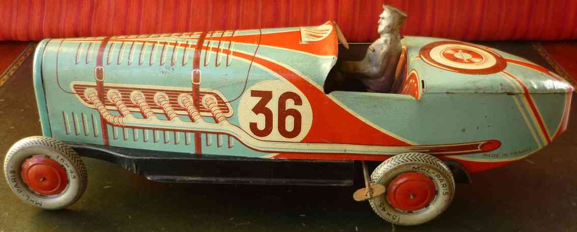 larnaude martinand tin toy boat tail race car
