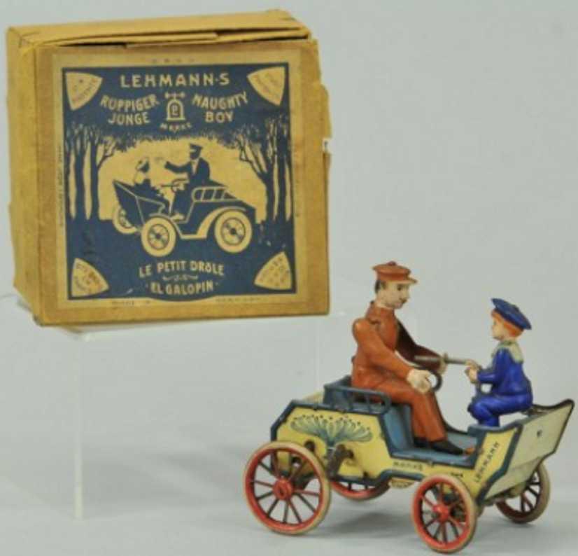 lehmann 495 tin toy car naughty boy clockwork vis-a-vis