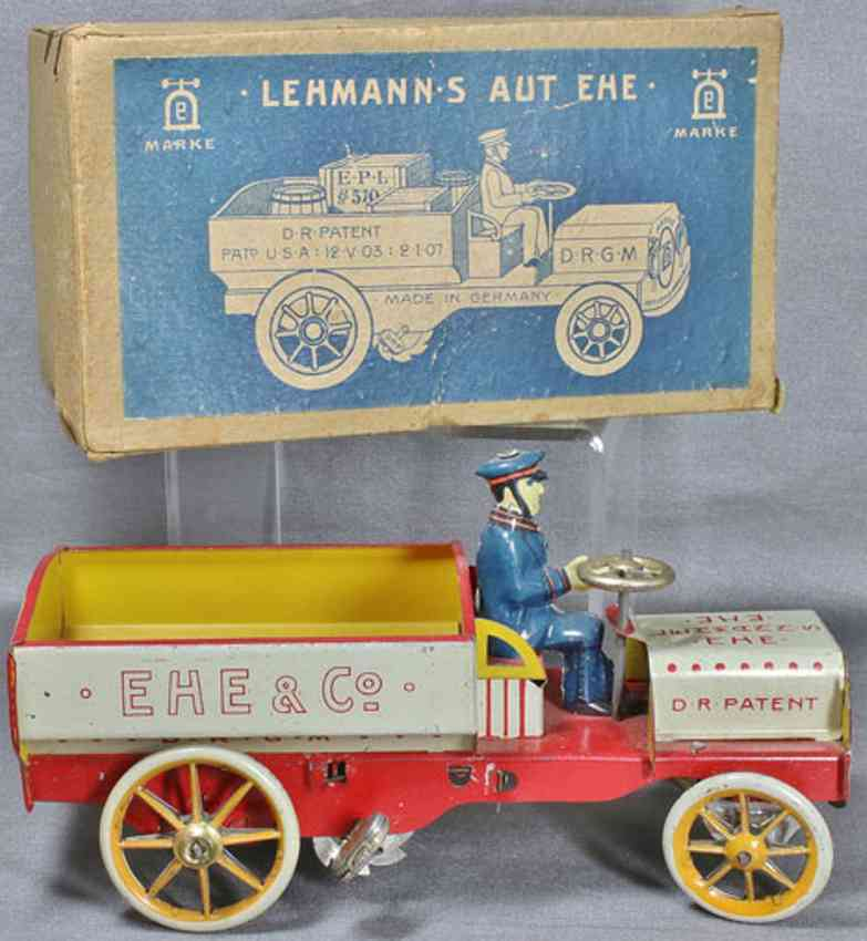 lehmann 570 tin toy  ehe open delivery truck with spring-drive