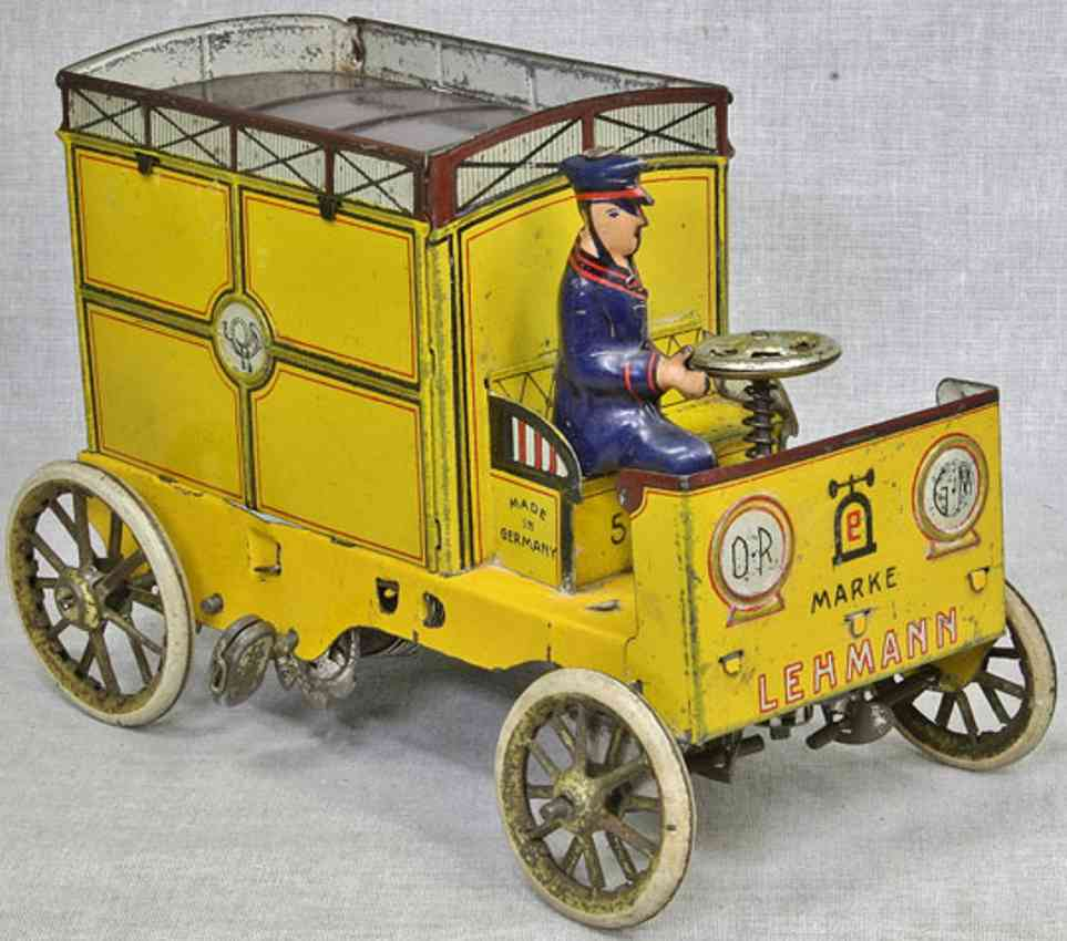 lehmann 575 tin toy yellow mail car feather clockwork yellow