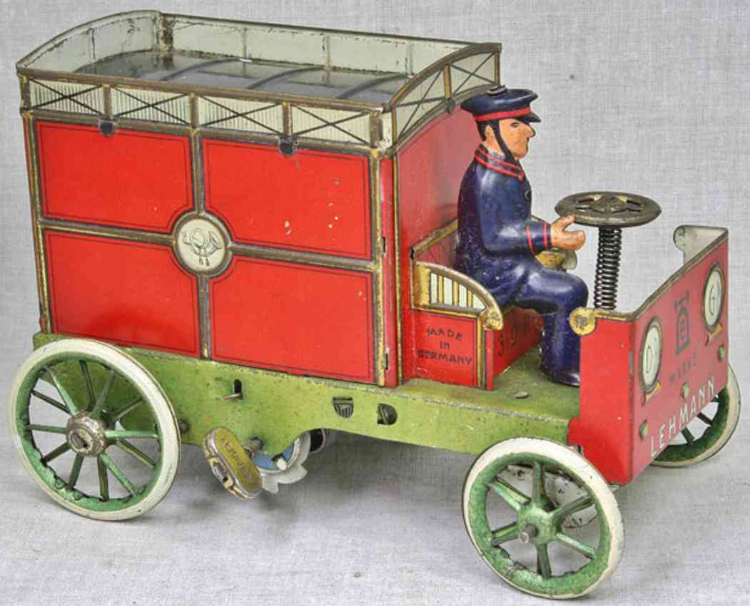 lehmann 575 tin toy car red mail car feather clockwork red