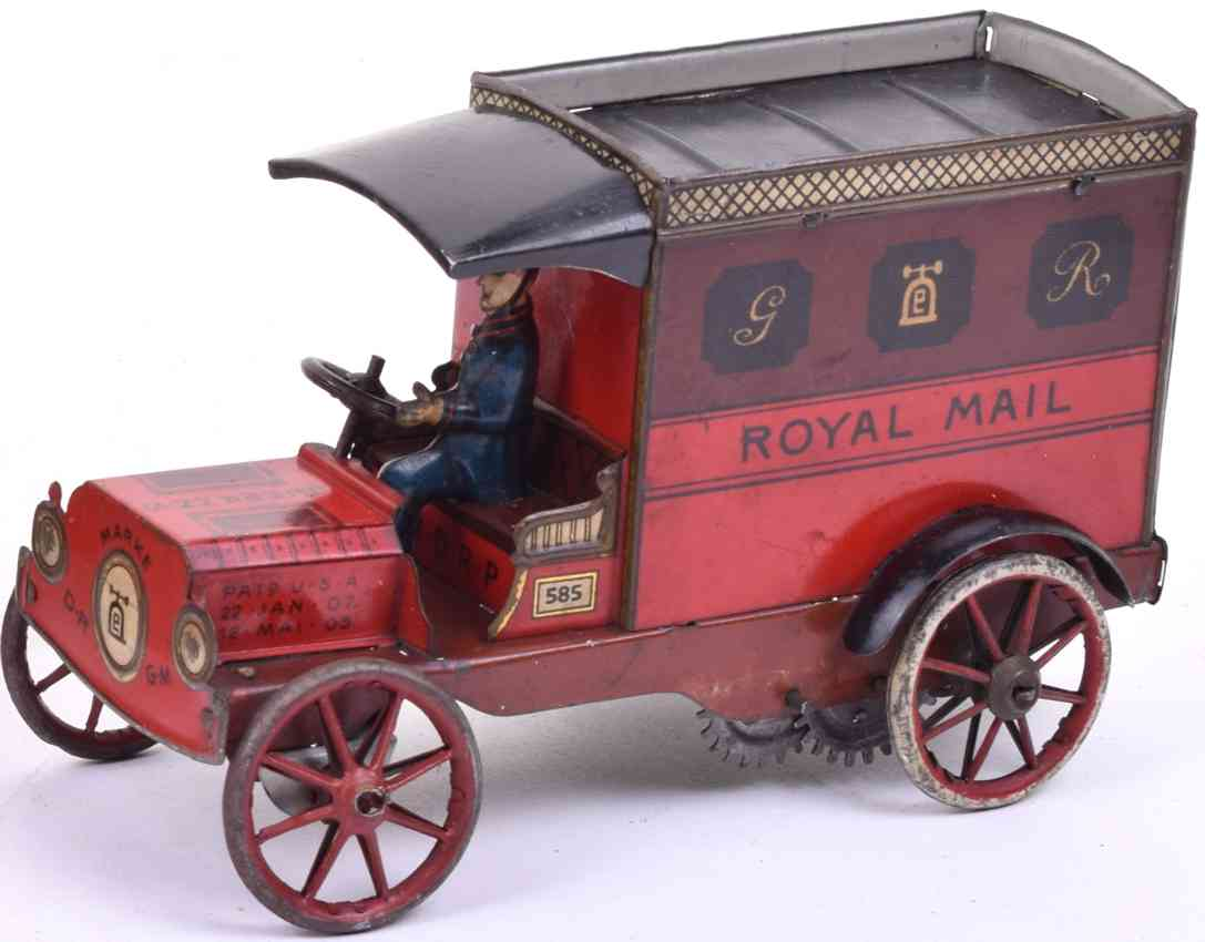 lehmann 585 tin toy delivery van royal mail with clockwork german