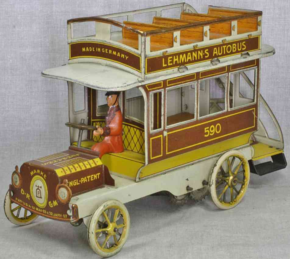 lehmann 590 tin toy bus bouble decker autobus clockwork brown