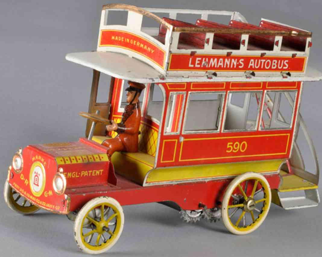 lehmann 590 blech spielzeug autobus rot spiralfederwerk