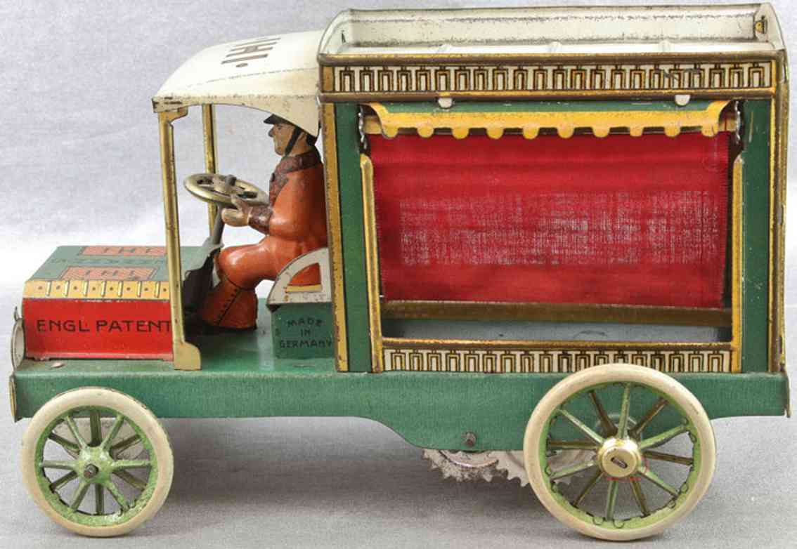 lehmann 595 tin toy delivery van for meat ihi red