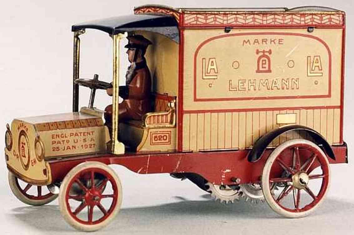 lehmann 620 la la tin toy truck auto business car van spring drive