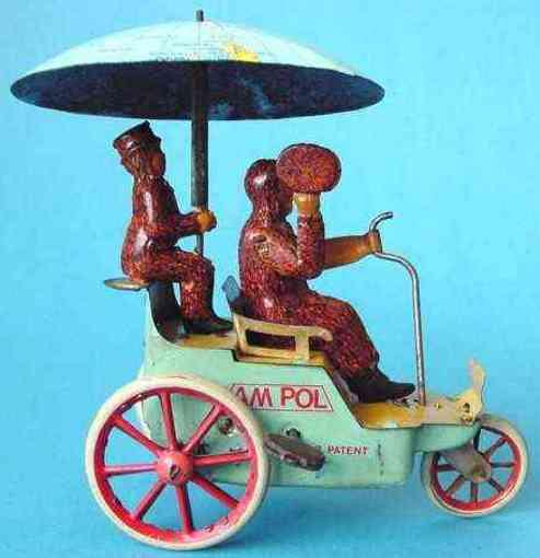 lehmann 681 tin windup toy car am pol man boy replaced umbrella