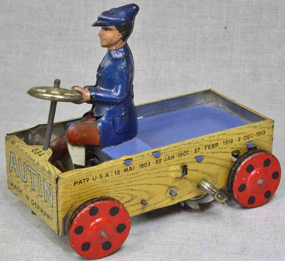 lehmann 684 tin toy car autin clockwork