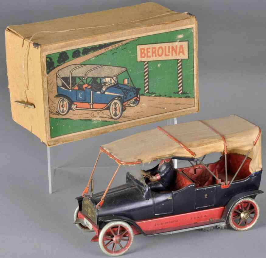 lehmann 686 tin toy car wind-up berolina automobile spoked wheels