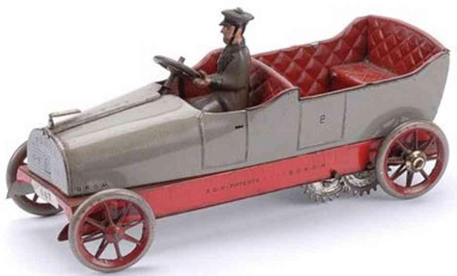 lehmann 687 panne tin toy oldtimer touring car clockwork grey