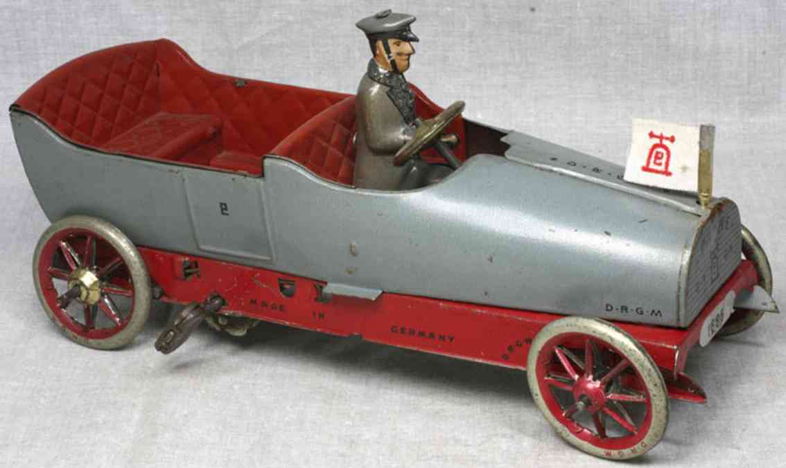 lehmann 687 panne tin toy oldtimer touring car with clockwork in red gray