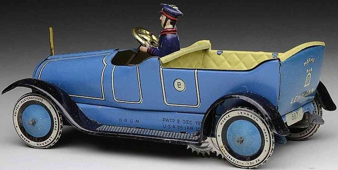 lehmann 687 panne tin toy oldtimer touring car with clockwork in blue