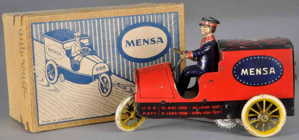 lehmann 688 tin toy car mensa table top delivery van three wheels