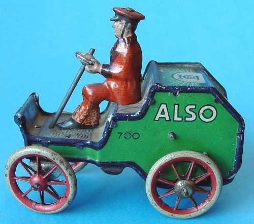 lehmann 700 tin toy also car with driver clockwork green