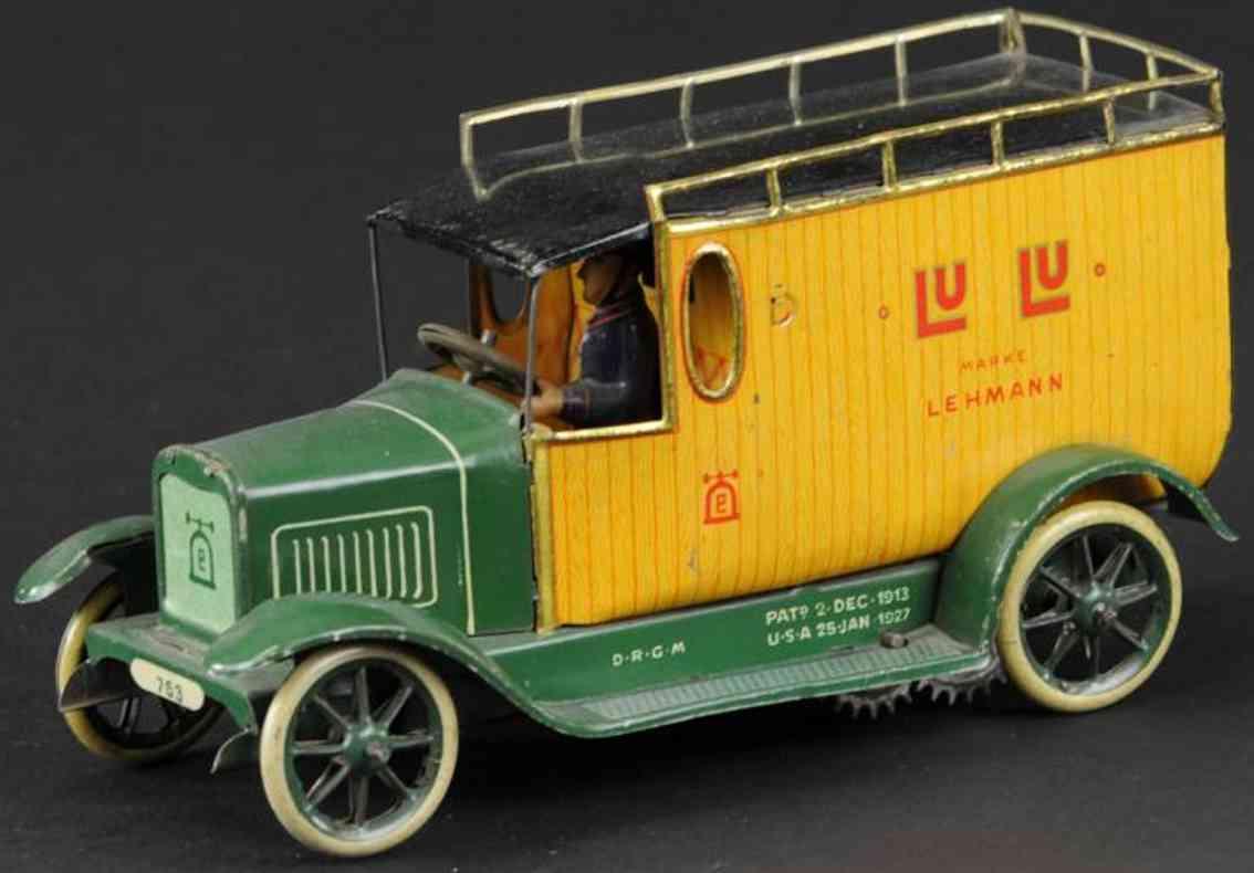 lehmann 763 tin toy delivery van lu-lu