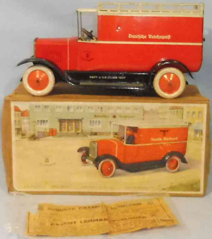 lehmann 786 tin toy truck postal van clockwork without swastika