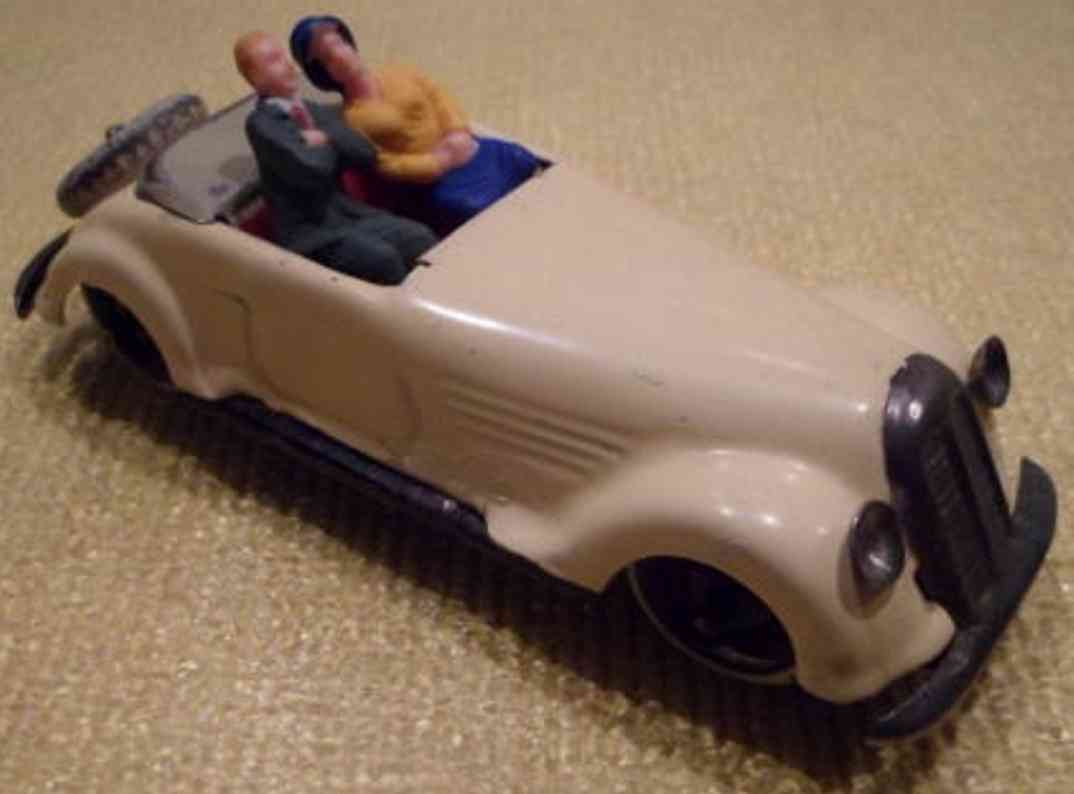 lehmann 811/1 tin toy roadster sports car cabriolet with 2 figures