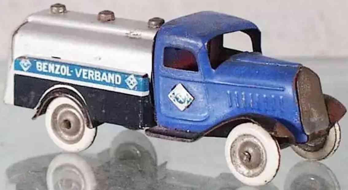 lehmann 835 blech spielzeug aral tanklastwagen blau gnom serie benzol association