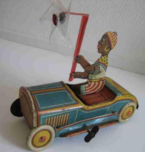 levy george gely blech spielzeug auto auto mit schwarzem jungen und uhrwerk, aufgezogen fährt das