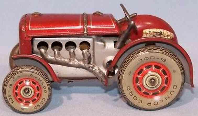 levy george gely blech spielzeug traktor rot silber uhrwerk