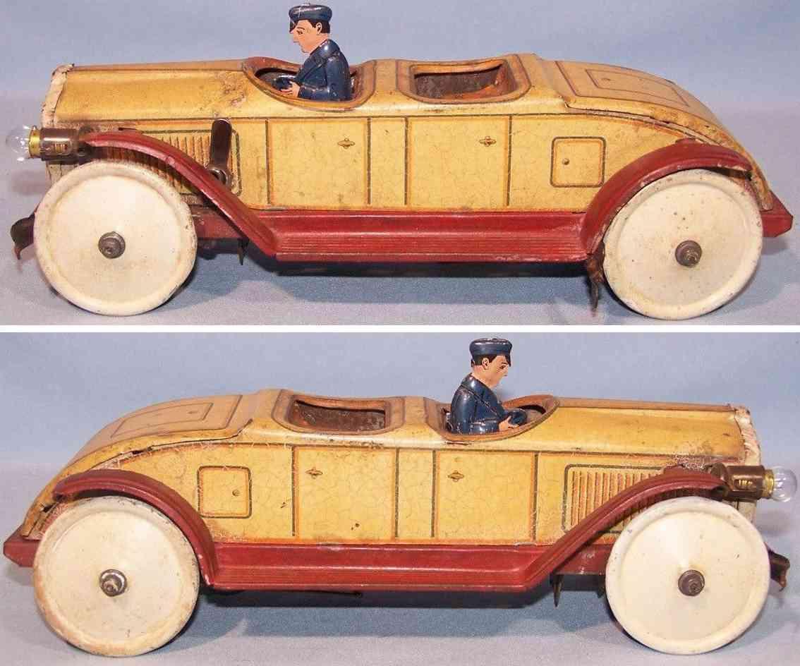 levy george gely blech spielzeug auto cabriolet uhrwerk beige braun