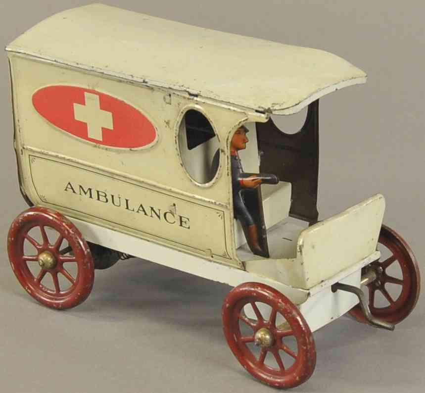 lindstrom tin toy car ambulance van white driver