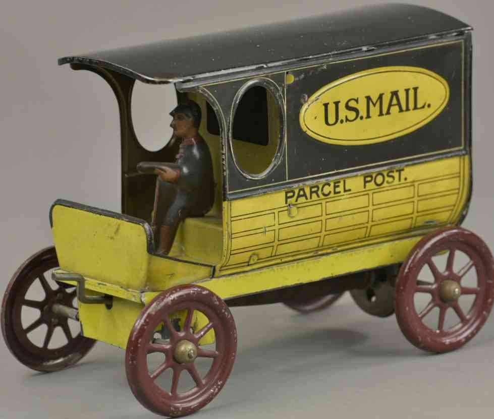 lindstrom blech spielzeug auto postwagen gelb schwarz fahrer