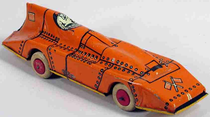 lindstrom blech spielzeug rennauto stromlinienförmiger rennwagen bluebird mit uhrwerk, er hat g
