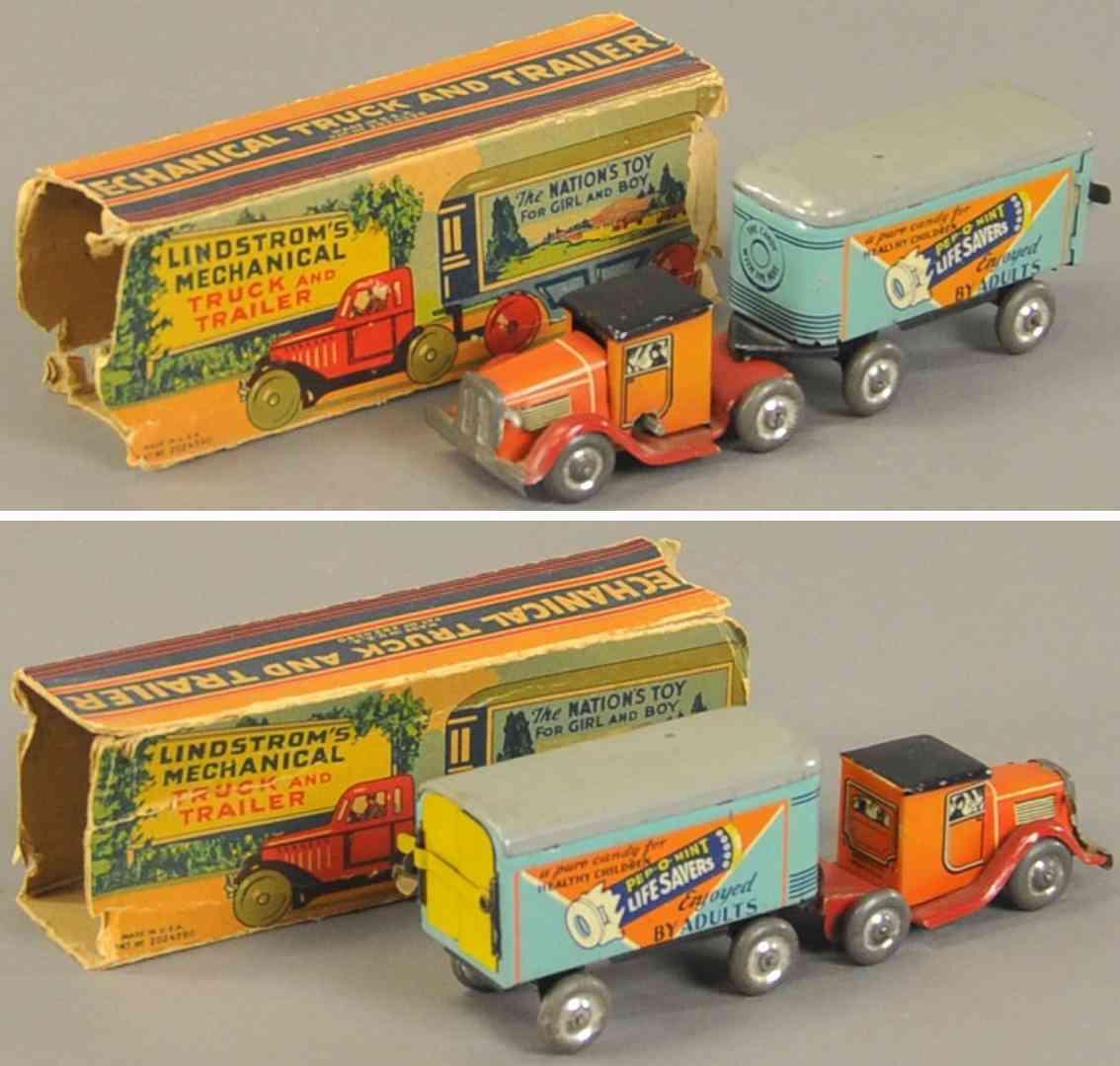lindstrom blech spielzeug lastwagen zugmaschine anhaenger