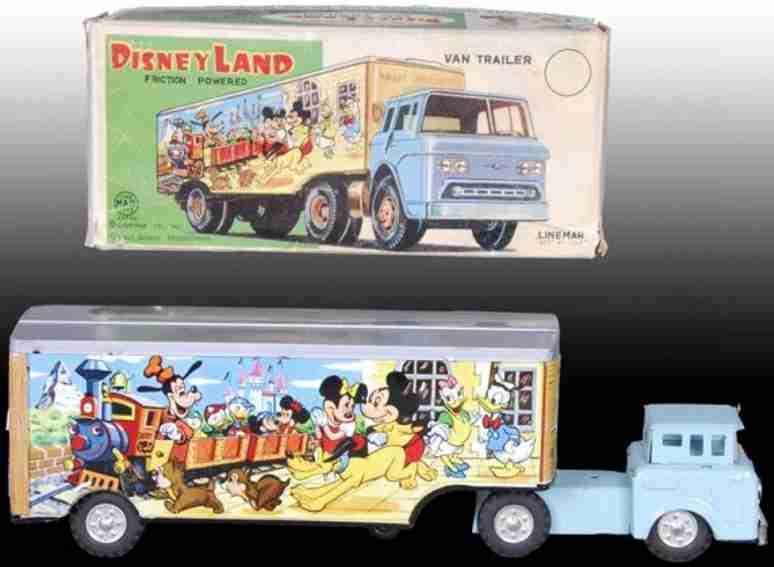 linemar tin toy truck tin walt disney disneyland van and trailer friction drive