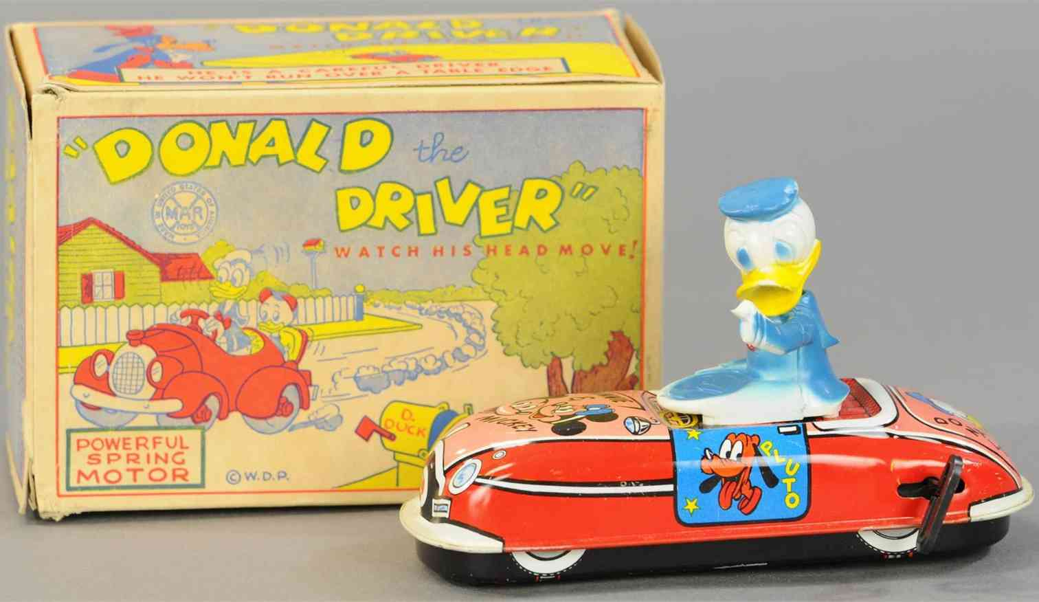linemar tin toy car donald duck the driver with windup