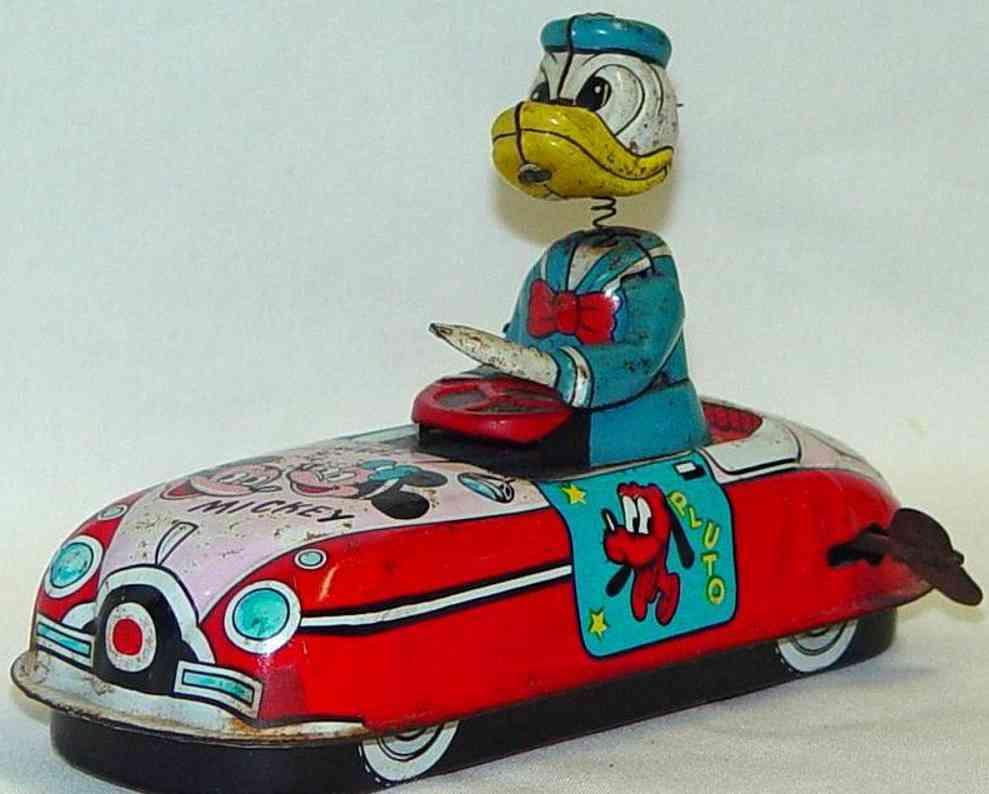 linemar blech spielzeug donald duck als autofahrer mit uhrwerk