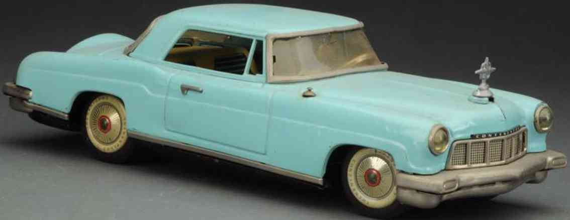 linemar tin toy car lincoln continental II with friction drive blue
