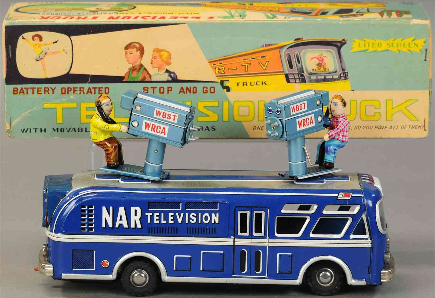linemar tin toy nar television truck, battery operated 2 cameramen