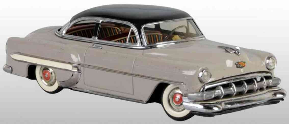 linemar tin toy car chevrolet friction drive grey black