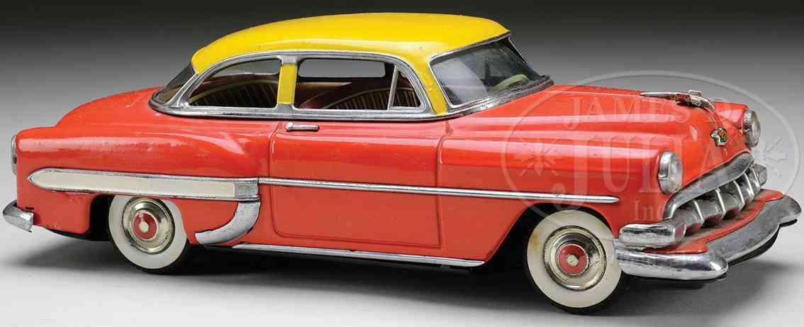 linemar blech spielzeug auto chevy mit friktionsantrieb rot gelb