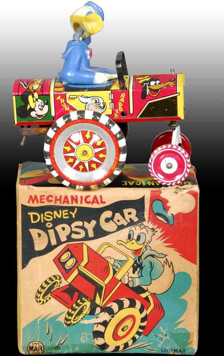 linemar  tin toy car walt disney plasticdonald duck dipsy car