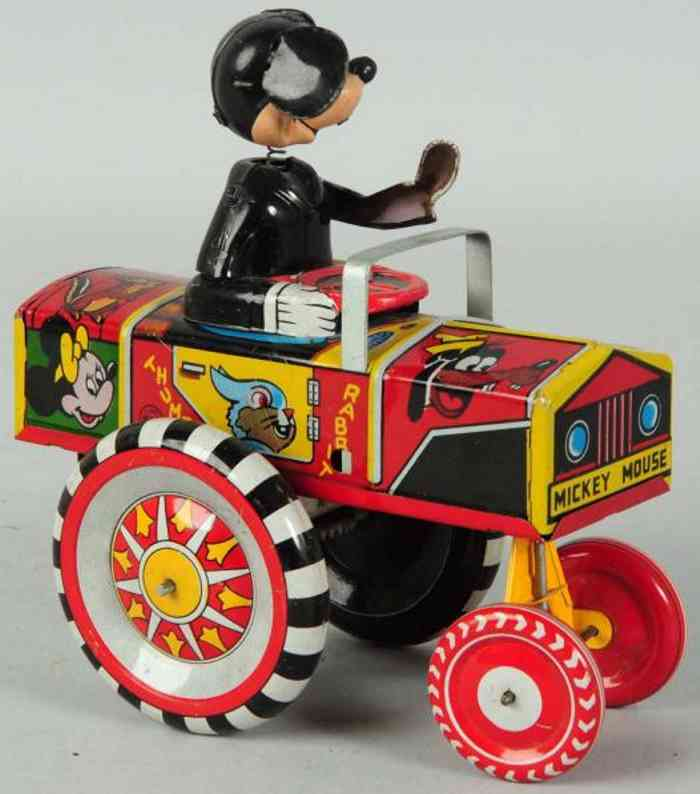 linemar tin toy car mickey mouse dipsy auto