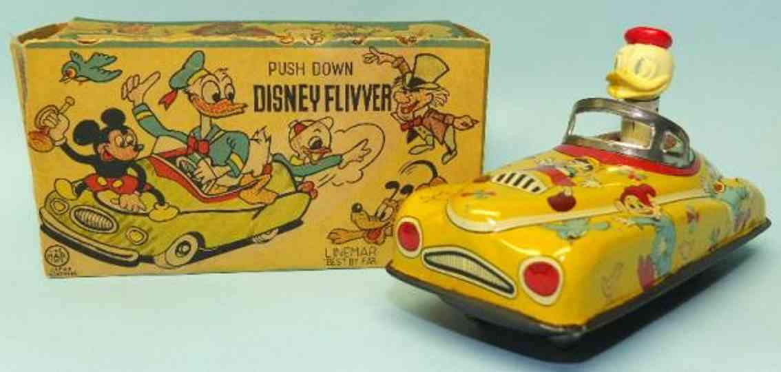 linemar tin toy car donald duck disney flivver push car
