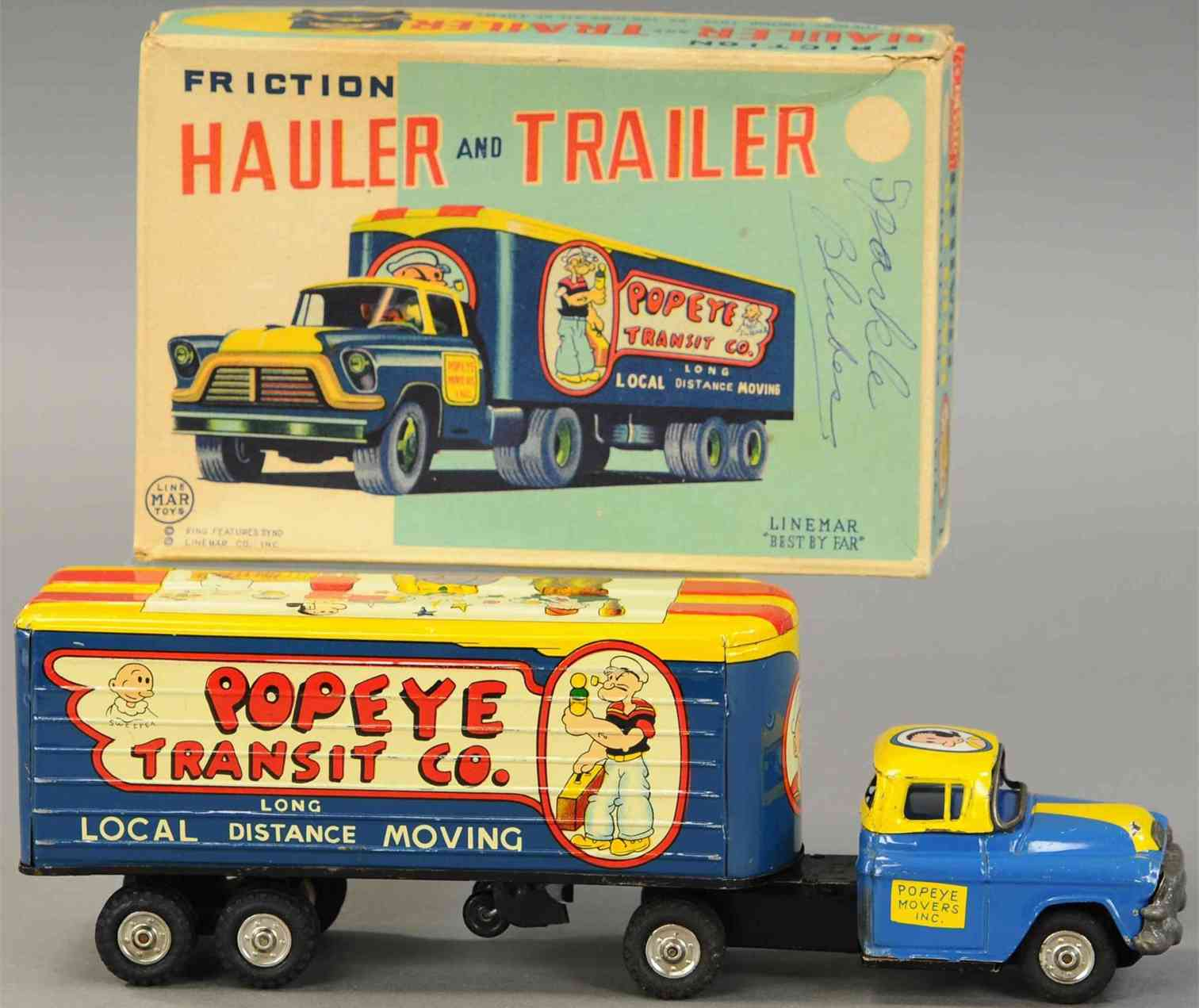 linemar tin toy popeye transit moving truck fricition