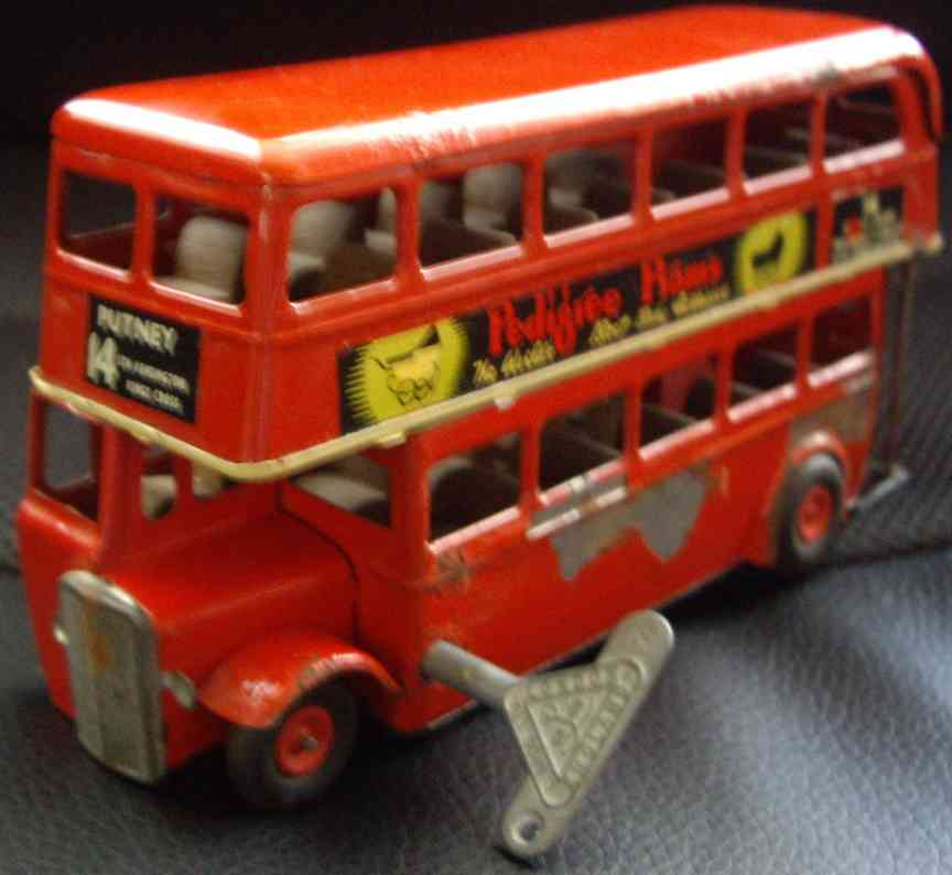 lines bros ltd tin toy bus minic triang tin lithographed wind up double decker bus with