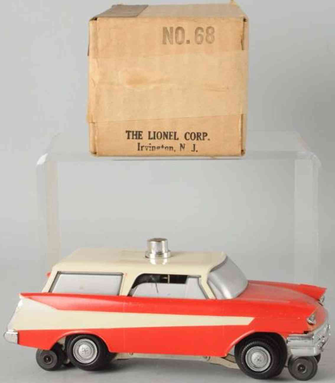 lionel 68 celluloid toy car executive inspection car red white