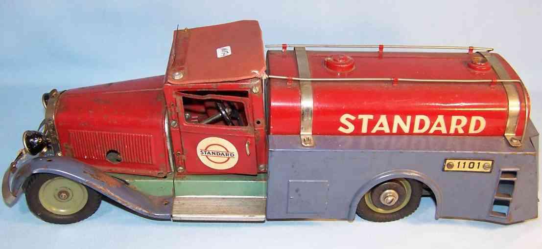 maerklin 1106 T blech spielzeug baukastenauto tankwagen rot und blau handlackiert mit uhrwerkantrieb, fahr