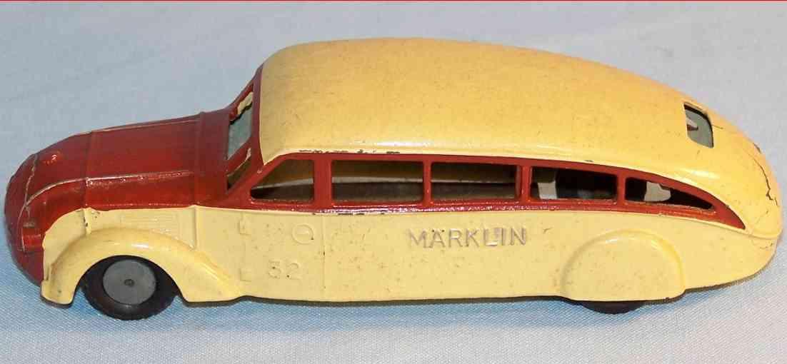 marklin maerklin 5521/32 cast iron toy bus wine-red beige