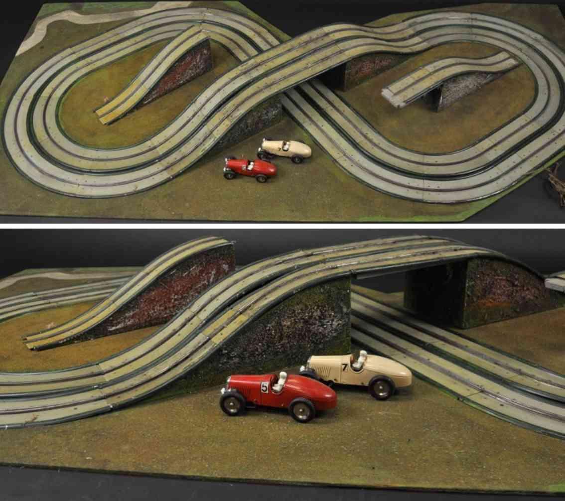 maerklin blech spielzeug autobahn rennbahn set mit rennwagen 5 rot 7 braun