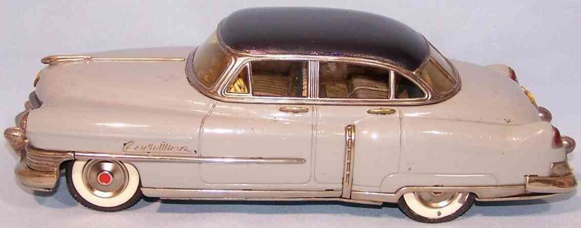 marusan shoten tin toy car cadillac with flywheel drive gray blue
